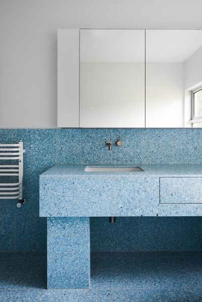 These blue Terrazzo tiles are 2018 bathroom goals