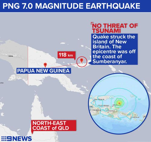 The earthquake struck the Papua New Guinea island of New Britain this morning, 118 kilometres from Kimbe.