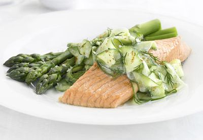 Poached trout with cucumber salad
