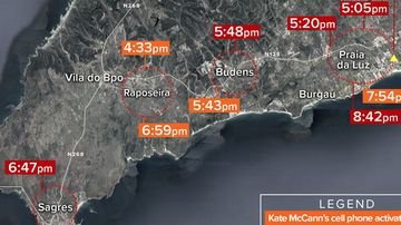 Map showing cell phone pings of Kate and Gerry McCann