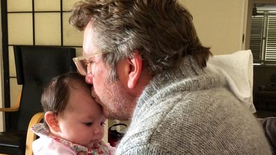 Daddy's home: Russell Bacon felt nervous about becoming a father again, after his three adult children had left home. Image: supplied