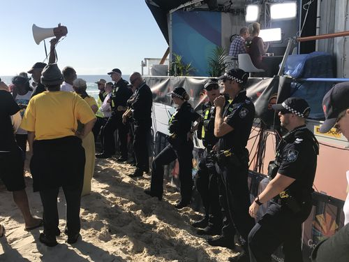 Police were called to the broadcast booth at Broadbeach. (9NEWS)