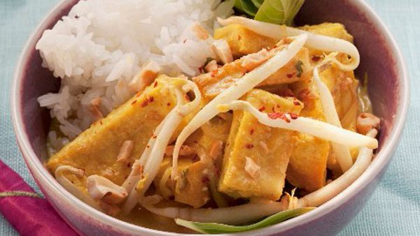 Fried tofu with beansprouts and rice