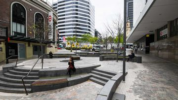 An empty outdoor mall picutured during lunch time in Mount Street, North Sydney.