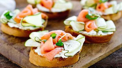 """<a href=""""http://kitchen.nine.com.au/2016/05/05/09/51/barbecued-garlic-bread-topped-with-goats-curd-smoked-salmon-and-zucchini-ribbons"""" target=""""_top"""">Barbecued garlic bread topped with goat's curd, smoked salmon and zucchini ribbons</a> recipe - all the flavour, with minimal effort"""