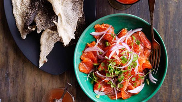 Trout ceviche and crisp fish skins