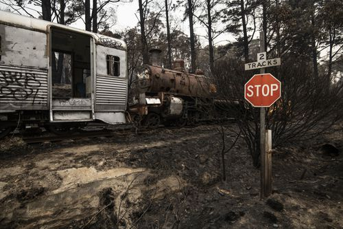 Aftermath on Christmas Eve of the Gospers Mountain fire where it impacted the Zig Zag Railway at Clarence on the Bells Line of Road. 24th December 2019.