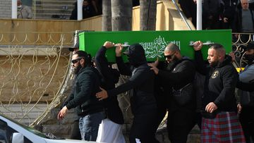 Men carry the coffin of Bilal Hamze after the funeral at Lakemba Mosque. Bilal Hamze funeral
