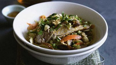 Cantonese roast duck salad with pickled daikon, carrot and celery