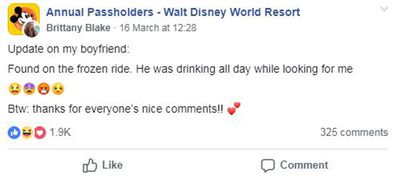 A woman lost her boyfriend at Disney World and the internet helped