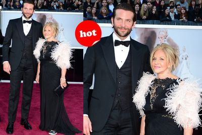 Okay, Brad's mum is no red carpet expert so we'll cut her some slack for those awful feathers. Plus, she's wearing what appears to be Cons under her dress. Brave!