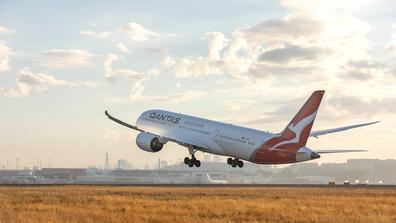 Qantas plane taking off