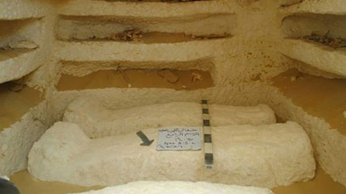 Sarcophagi which were discovered in a cemetery dating back about 2,000 years.