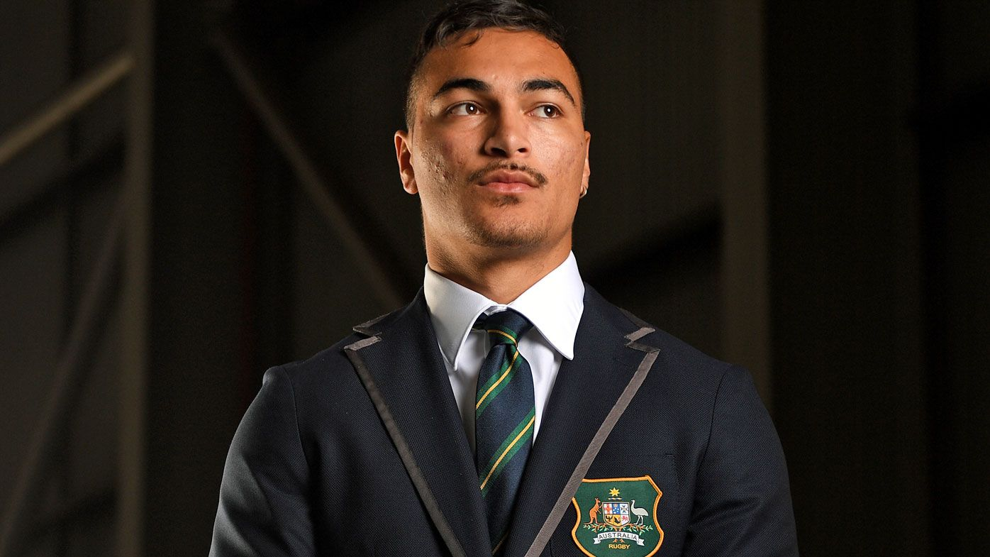 Australian Wallabies player Jordan Petaia poses for a photograph at the announcement of the 2019 Rugby World Cup team