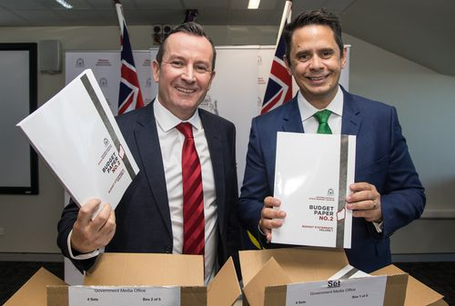 WA Premier Mark McGowan and Treasurer Ben Wyatt handed down the WA budget today. (AAP)