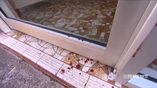 The signs of the attack also remain at Mr Ahmed's Lakemba home today, where a crime scene was established. Picture: 9NEWS.