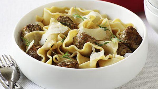 Duck meatballs with lasagnette