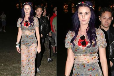 Katy's purple hair isn't enough to distract us from what she's wearing. It shouldn't be (the dress is <i>see-through</i>), but it's all a little blah.<br/><br/><br/><i>Katy Perry at Coachella Festival 2012<br/>Image: Snappermedia</i>