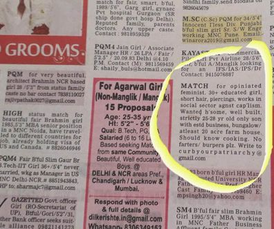 Indian matchmaking ad goes viral after requesting 'non-farting, non-burping, handsome, rich feminist' husband