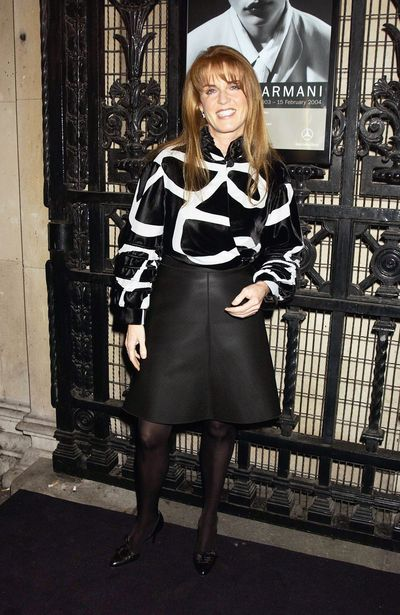 Sarah Ferguson arrives at a Giorgio Armani cocktail party at the Royal Academy on October 14, 2003 in London.