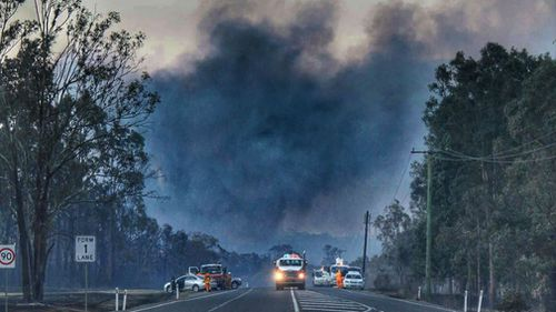 A plume of smoke arising from a blaze at Richmond Vale. (JWMEDIA)