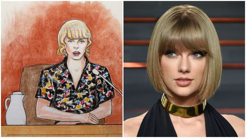 In this courtroom sketch (L), pop singer Taylor Swift speaks from the witness stand during a trial on Thursday. (AAP)