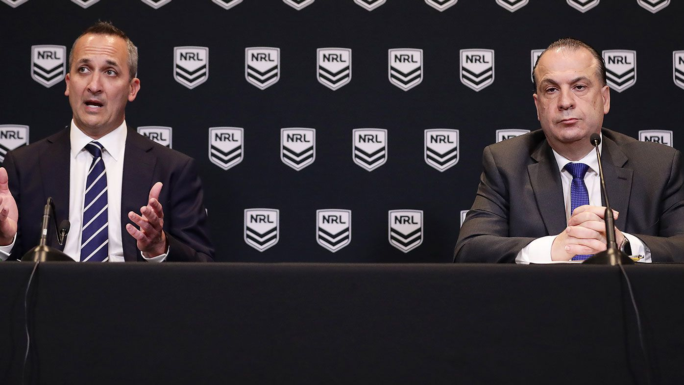 Australian Rugby League Commission Chairman Peter V'landys and National Rugby League Chief Executive Andrew Abdo