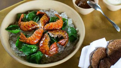 "Peter Gilmore's <a href=""http://kitchen.nine.com.au/2016/12/21/07/00/peter-gilmores-boiled-yabbies-with-buckwheat-pikelets-creme-fraiche-and-lemon-marmalade"" target=""_top"">boiled yabbies with buckwheat pikelets, creme fraiche and lemon marmalade</a> recipe"