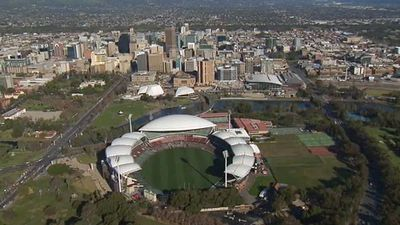 A siren sounded at the game's scheduled start time of 2.50pm (ACST). (9NEWS)