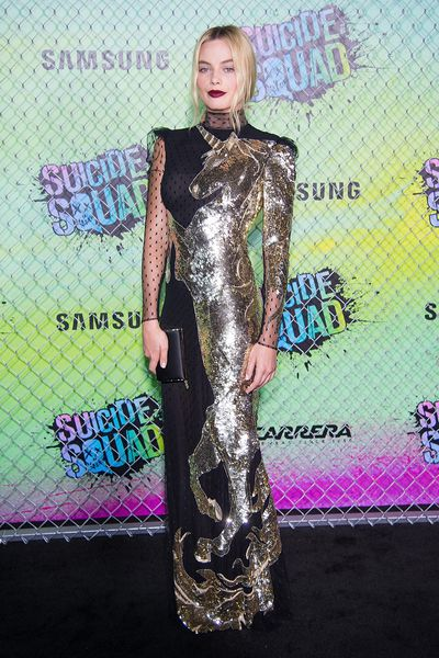 Margot Robbie in Alexander McQueen at the <em>Suicide Squad</em>premiere in New York on August 1, 2016