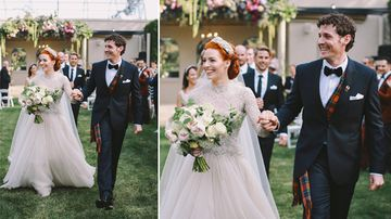 Yellow Wiggle Emma Watkins and Purple Wiggle Lachy Gillespie tied the knot during a ceremony yesterday afternoon in Bowral, in the New South Wales Southern Highlands. (Supplied)