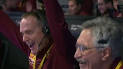 Jubilant scenes at NASA mission control after the Mars landing.