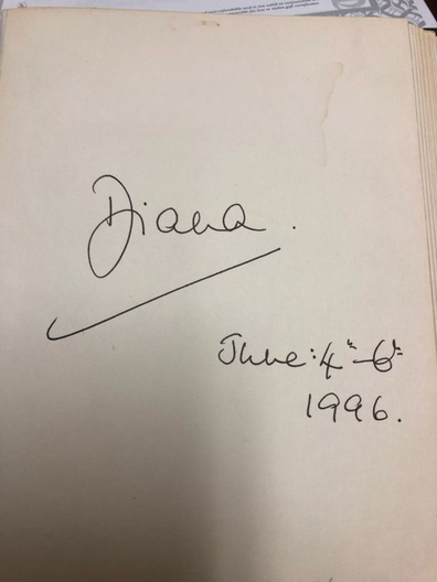 Drake Hotel Princess Diana signature on hotel autograph book
