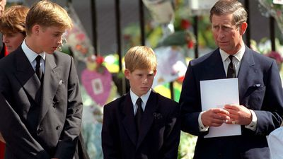Prince Charles, Prince William and Prince Harry attend Princess Diana's funeral