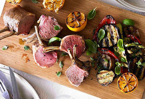 Hayden Quinn's roasted lamb rack with char-grilled vegetables and mashed potato