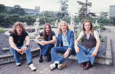 Status Quo, portrait photo session at a park in Tokyo, Japan, September 197