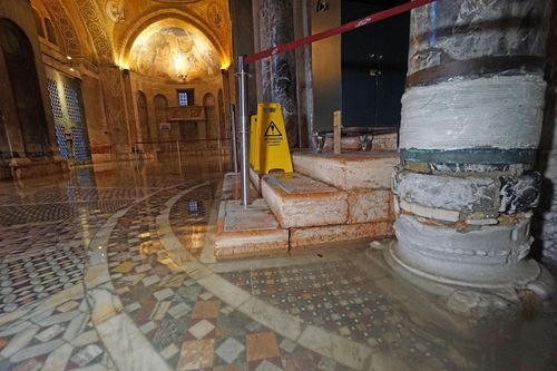 The water flooded the main body of the Basilica of San Marco in Venice.