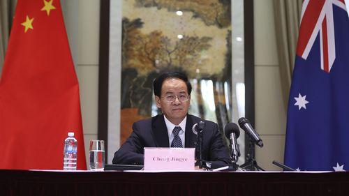 中国驻澳大利亚大使成敬业在堪培拉关于新疆的新闻发布会上发表讲话。