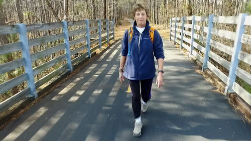Ms Ledson walks about 32km every day. (9NEWS)