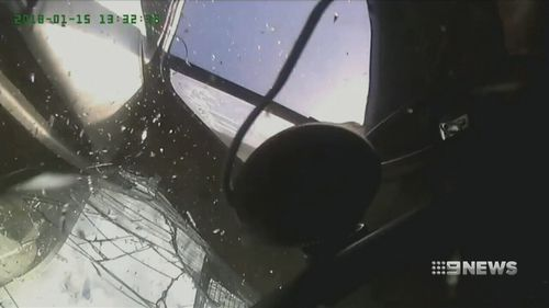 Dashcam video from inside Mr Spencer's cabin. (9NEWS)