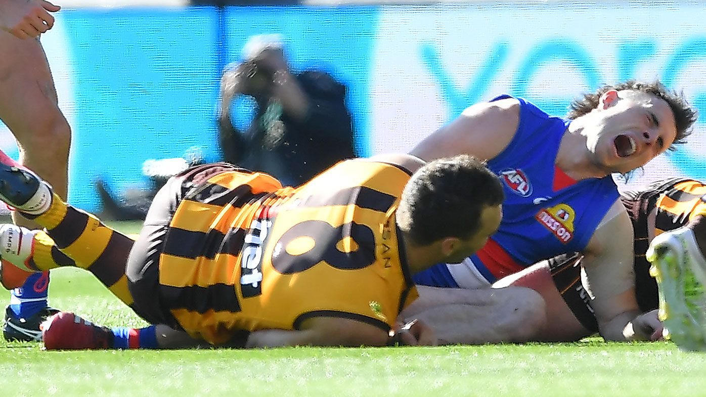 Gruesome Toby McLean knee injury sours dominant Bulldogs win over Hawthorn