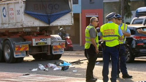 Female cyclist, 21, dies, after truck collision in Sydney's inner west