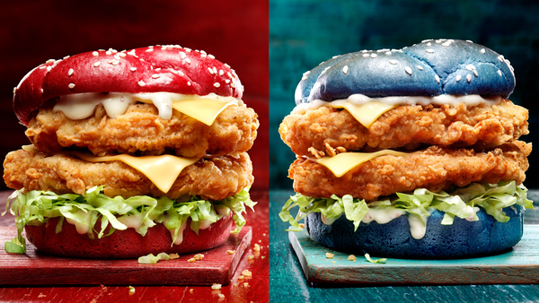 KFC Australia State of Origin 'Origin Recipe Burger' in blue or maroon