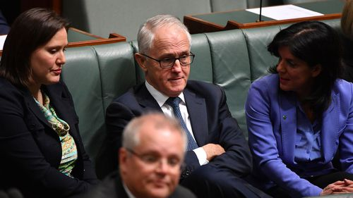 Kelly O'Dwyer, Julia Banks and Malcolm Turnbull