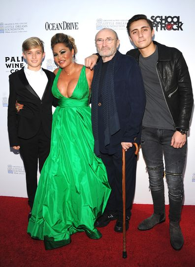 Matthew Collins, Orianne Cevey, Phil Collins and Nicholas Collins attend the 4th Annual Dreaming on the Beach Gala at Fillmore Miami Beach on November 15, 2018 in Miami Beach, Florida.