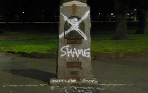 Captain Cook statue vandalised at Edinburgh Gardens in Melbourne