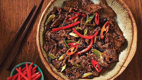 Kylie Kwong's stir-fried beef with black bean sauce and chilli