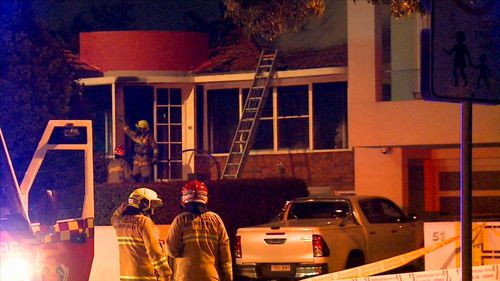 The man and his elderly mother made it to safety when their house caught alight this morning in Sydney's Inner West. (9NEWS)