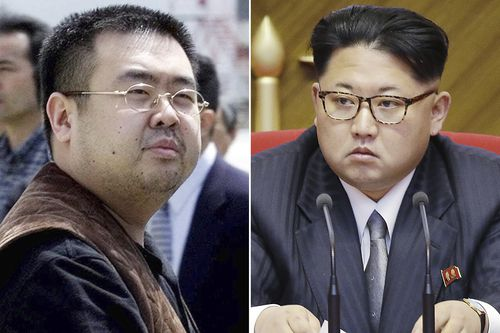 This combination of file photos shows Kim Jong Nam, left, exiled half-brother of North Korea's leader Kim Jong Un, in Narita, Japan, on May 4, 2001, and North Korean leader Kim Jong Un on May 9, 2016, in Pyongyang, North Korea