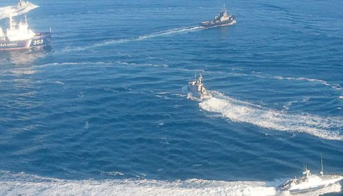 The seizure of the Ukrainian vessels by Russia's coastguard.